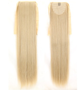 Long Straight Ash Blonde Mix Bleach Blonde Bingding Ponytails 70cm Clip on Ponytail Hair Extensions Hairpiece Ribbon Pony Tail Extension for Women Style