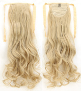 Long Curly Ash Blonde Mix Bleach Blonde Bingding Ponytails 60cm Clip on Ponytail Hair Extensions Hairpiece Ribbon Pony Tail Extension