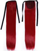 Long Straight Dark Red Bingding Ponytails 50cm Clip on Ponytail Hair Extensions Hairpiece Ribbon Pony Tail Extension for Women Style