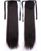 Long Straight Dark Brown Bingding Ponytails 50cm Clip on Ponytail Hair Extensions Hairpiece Ribbon Pony Tail Extension for Women Style