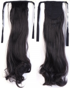 Long Curly Natural Black Bingding Ponytails 46cm Clip on Ponytail Hair Extensions Hairpiece Ribbon Pony Tail Extension