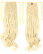 Long Curly Bleach Blonde Bingding Ponytails 46cm Clip on Ponytail Hair Extensions Hairpiece Ribbon Pony Tail Extension
