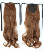 Long Curly Light Brown Bingding Ponytails 46cm Clip on Ponytail Hair Extensions Hairpiece Ribbon Pony Tail Extension