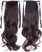 Long Curly Dark Brown Bingding Ponytails 46cm Clip on Ponytail Hair Extensions Hairpiece Ribbon Pony Tail Extension