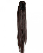 Medium Brown Long Straight Claw Ponytails 50cm Clip on Ponytail Hair Extensions Hairpiece Pony Tail Extension for Girl Lady Women