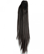 Dark Brown Long Straight Claw Ponytails 50cm Clip on Ponytail Hair Extensions Hairpiece Pony Tail Extension for Girl Lady Women