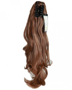 46cm Light Brown Long Wave Curly Claw Ponytails Clip on Ponytail Hair Extensions Hairpiece Pony Tail Extension for Girl Lady Women