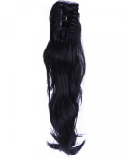 46cm Dark Black Long Wave Curly Claw Ponytails Clip on Ponytail Hair Extensions Hairpiece Pony Tail Extension for Girl Lady Women
