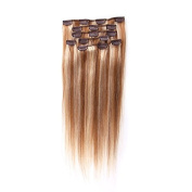 Pansy 60cm Clip in Hair Extensions Human Hair Colour Light Brown with Blonde