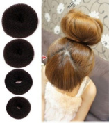Set of 4 Pieces OPCC Hot Hair Donut Bun Ring Styler Maker,Make The Most Charming Hair Bun,Brown
