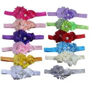 12 Pack Baby's Headbands Girl's Cute Hair Flower Hair bands Newborn headband