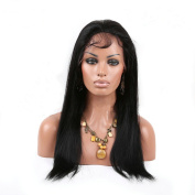 YanT Hair Women Human Hair Full Lace Wig 46cm Natural Colour Pack of 1