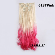 Heahair® 613TPink Light Blonde to Pink Ombre Synthetic Curly Clip in Hair Extensions