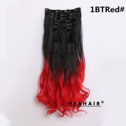 Heahair® 1BTRed Off Black to Red Ombre Synthetic Curly Clip in Hair Extensions