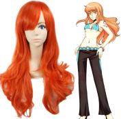 Anogol One Piece Nami Cosplay Wig Orange Wave Women's Hair Wigs with Hair Cap