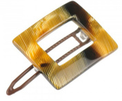 French Amie Small Caramel Square Celluloid Handmade Metal Free Hair Clip Barrette for Girls