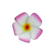 Plumeria Foam Flower Small Hair Clip Pink & White