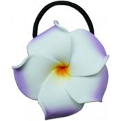 Medium Foam Ponytail Hair Flower Plumeria Lilac & White