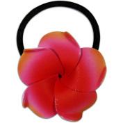 Foam Ponytail Hair Flower Plumeria Red & Orange