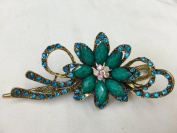 Gorgeous Fashion Jewellery Crystal Rhinestones Flower Design Hair Clips Hair Pins Hair Sticks - Large Size - Emerald -For Hair Beauty Tools