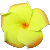 Foam Flower Small Hair Clip Plumeria Yellow & Orange