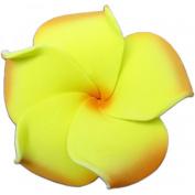 Foam Flower Small Hair Clip Plumeria Yellow & Orange