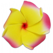 Foam Flower Small Hair Clip Plumeria Red & Orange