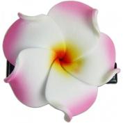 Foam Flower Mini Hair Clip Set Of 2 Plumeria White With Pink
