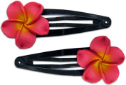 Fimo Hair Flower Snap Clip Set of 2 Plumeria Pink & Yellow