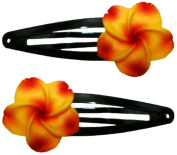 Fimo Hair Flower Snap Clip Set of 2 Plumeria Goldenrod