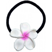 Large Fimo Elastic Ponytail Hair Flower Plumeria White Pink