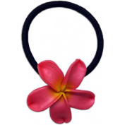 Large Fimo Elastic Ponytail Hair Flower Plumeria Hot Pink