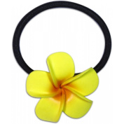 Large Fimo Elastic Ponytail Hair Flower Plumeria Yellow