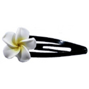 Fimo Hair Flower Snap Clip Set of 2 Plumeria White