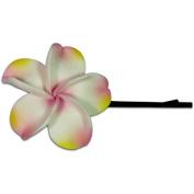 Fimo Hair Flower Large Bobby Pin Plumeria Pink Blush & White