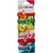 Lil Hauoli Kids Ponytail Elastic Bands Set of 5 Triple Flower