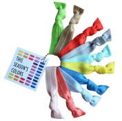 This Season's Colours No Crease Hair Ties, Spring/Summer Colours Set of 10, Fold Over Elastic