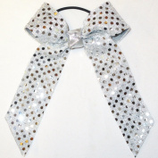 Small Soft Touch Sequin Bow, Metallic Silver, Batch R15, Made in the USA