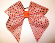 Extra Large Orange Sequin Cheerleader Bow, Stiff, Batch B3, Made in the USA