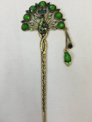 Gorgeous Vintage Jewellery Crystal Hair Sticks Hair Pins Shawl Pins Peacock Design with Tassels - Lime Green Colour -For Hair Beauty Tools