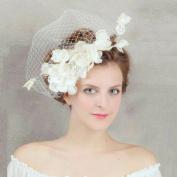 BININBOX Brides Lace Veil Hair Fascinator Head Flower Bridal Hair Clip Accessory