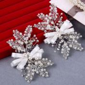 BININBOX Bridal Special Crystal Pearls Hair Clip Fascinator Handmade Head Jewellery