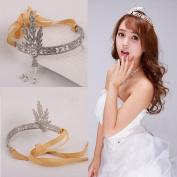 BININBOX Crystal Pearl Head Crown Wedding Bridal Sparkling Hair Jewellery