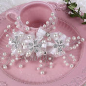 BININBOX Bride Crystal Pearl Lace Headpiece Wedding Prom Comb Hair Jewellery