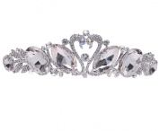 Wiipu Silvertone Swan Rhinestone Crystal Bridal Wedding Crown Tiara Headpiece
