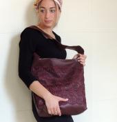 Sara Attali Design Big Bag Shoulder Bag Chic Lace Bag Bordeaux