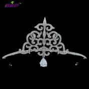 Vintage Style AAA Cubic Zirconia Tiara Bridal Dangle Crown Wedding Hair Jewellery Evening Accessories Headpiece TR15124