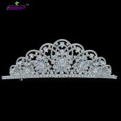 High Quality Full AAA CZ Tiaras Handmade Pave Crown Bridal Wedding Hair Jewellery Evening Headpice TR15207