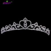 Bridal Wedding Tiara Heart Love Crown Hair Jewellery Accessories Micro Pave AAA CZ Birthday Party Head Piece TR15045