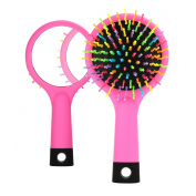 Rainbow Portable Detangling Hair Brush With Back Mirror for Wet Or Dry Hair